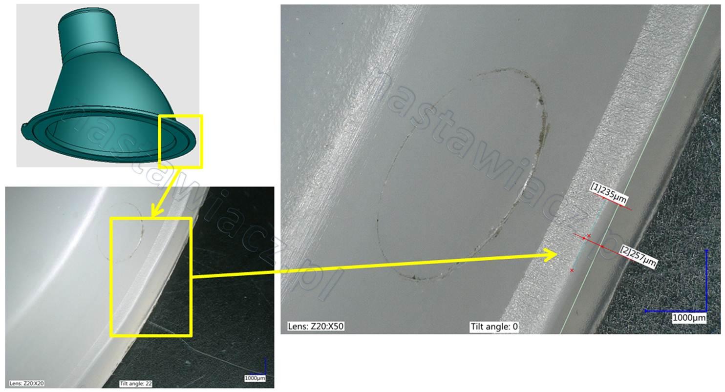 niedolew pomiar mikroskopem Analiza nieszczelności zaworu do urządzenia AGD